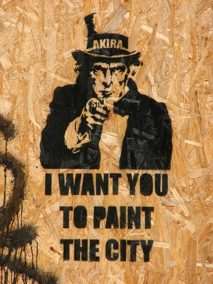 "Stencil ""I want you to paint the city"""